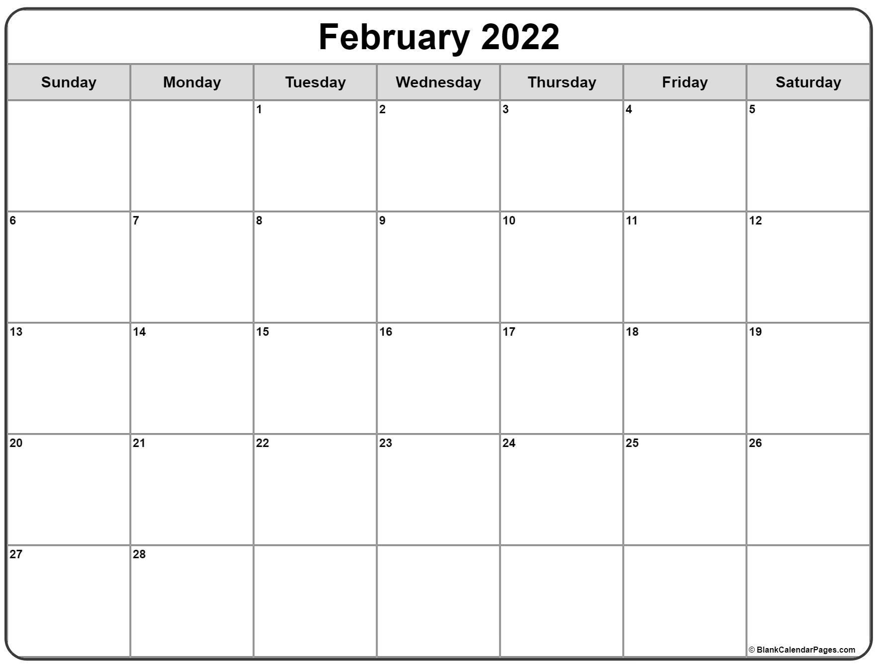 February 2022 Calendar   Free Printable Calendar Templates With February 2022 Month Calendar Page