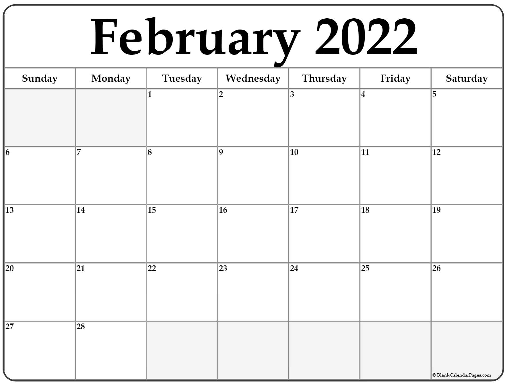 February 2022 Calendar | Free Printable Calendar Templates With Regard To Blank Calendar April 2022 Printable February
