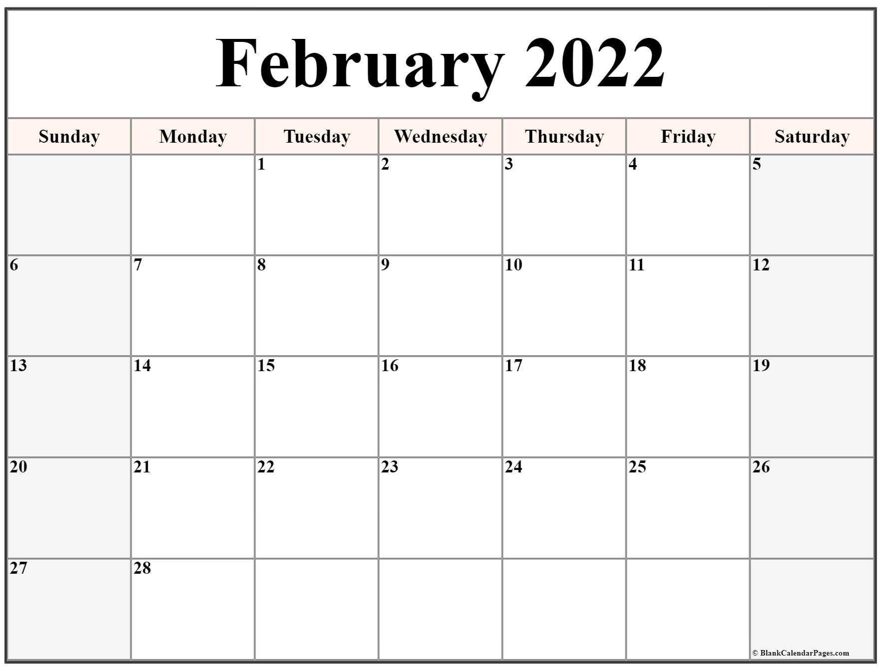 February 2022 Calendar | Free Printable Calendar Templates Within Blank Calendar April 2022 Printable February