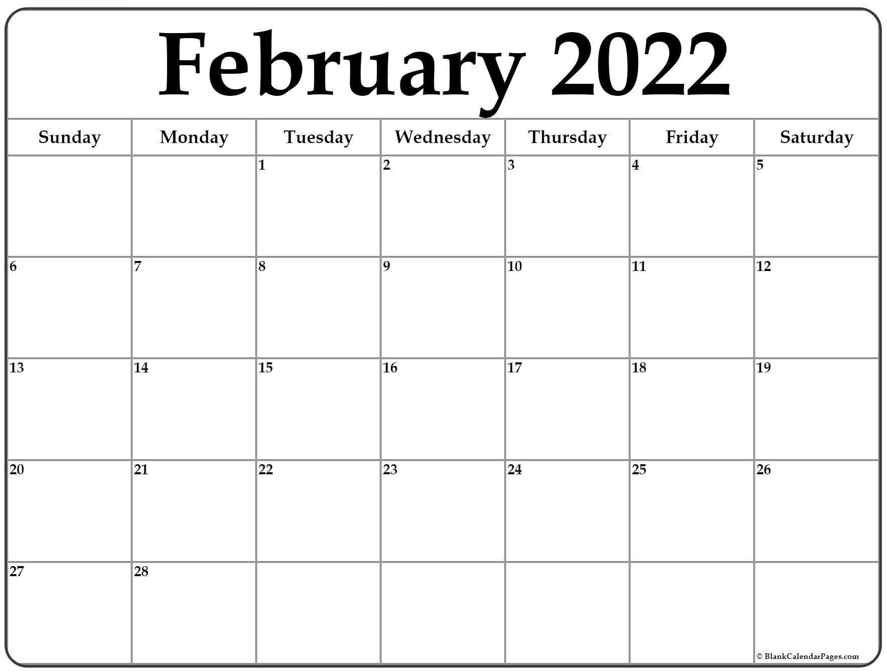 February 2022 Calendar | Free Printable Calendar Templates Within Fillable February 2022 Calendar