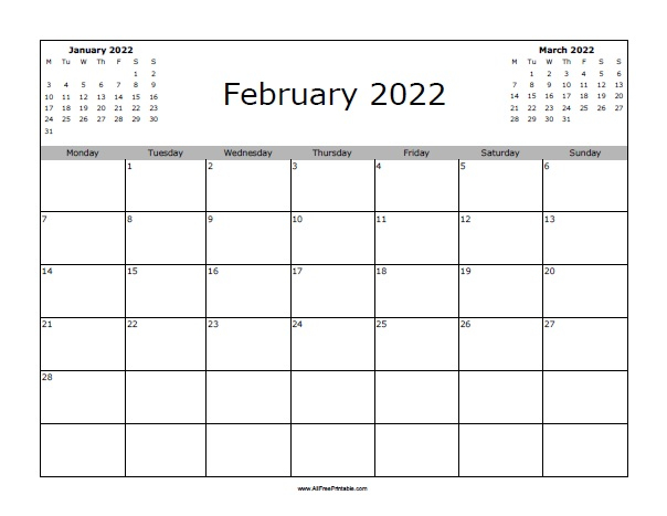 February 2022 Calendar | Free Printable Throughout February 2022 Calendar Template
