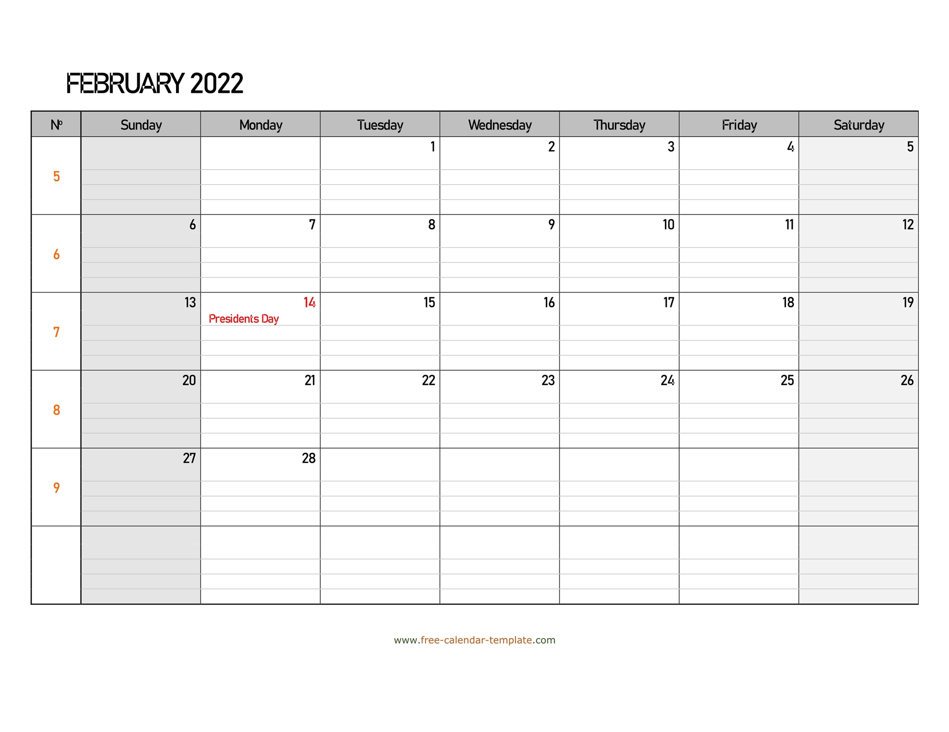 February 2022 Calendar Free Printable With Grid Lines For Calendar Print Feb 2022