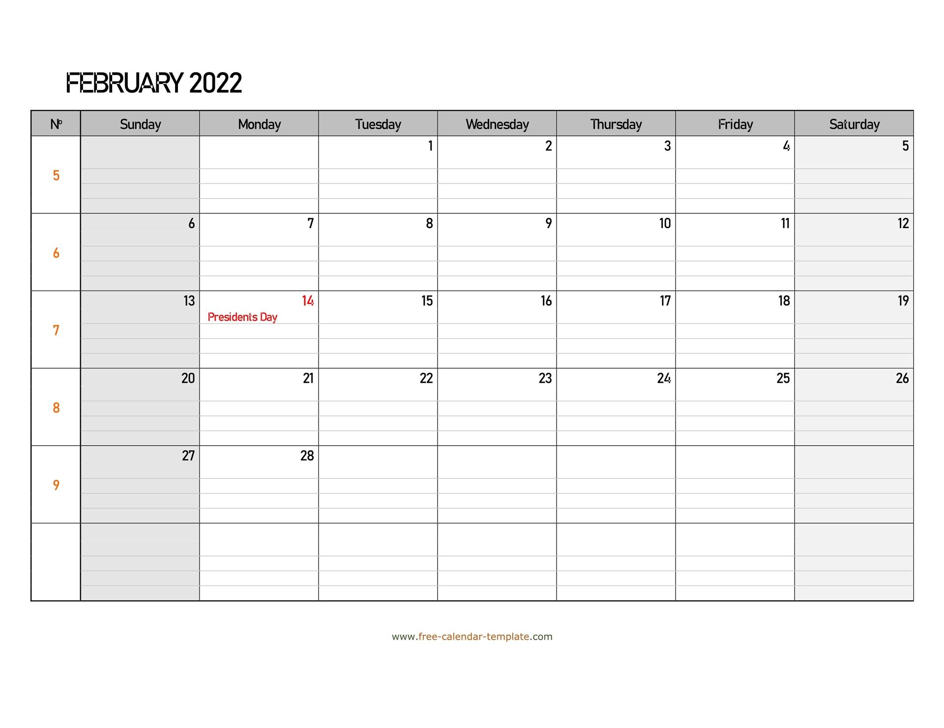 February 2022 Calendar Free Printable With Grid Lines Intended For Printable February 2022 Calendar