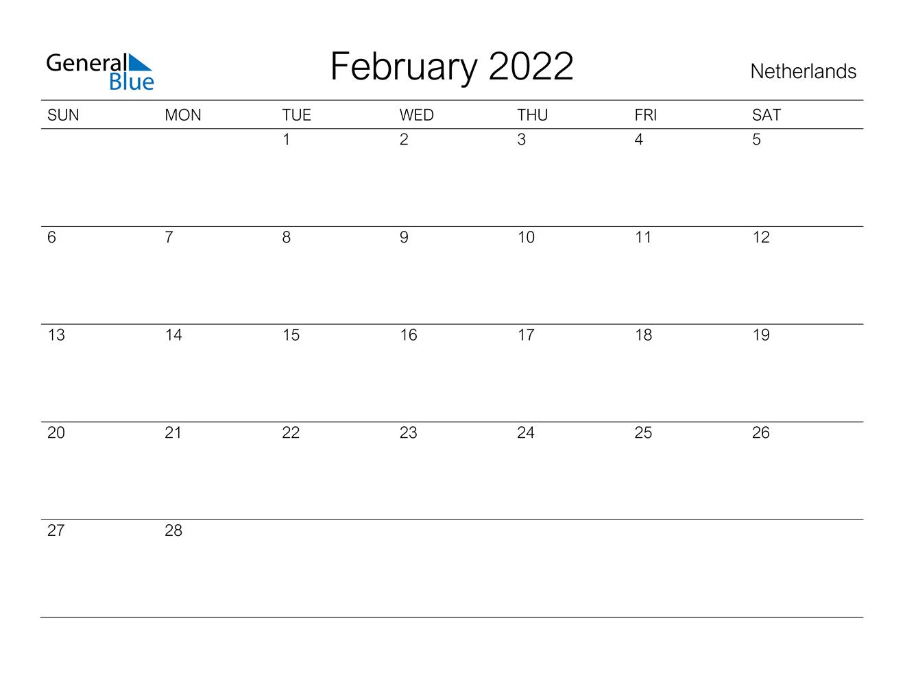February 2022 Calendar – Netherlands Within February 2022 Calendar Template
