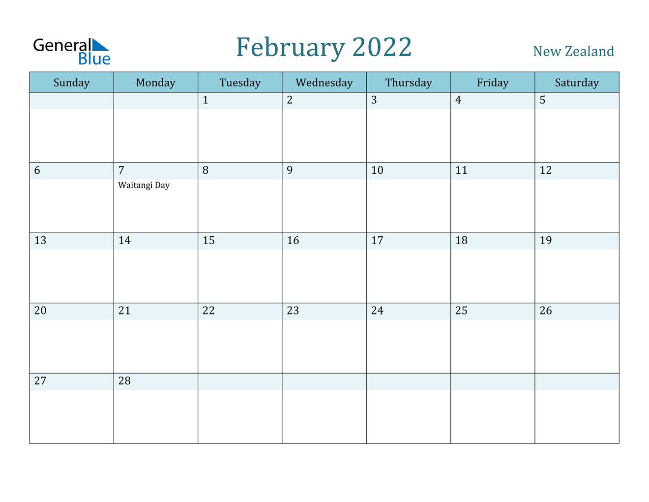February 2022 Calendar - New Zealand Throughout February 2022 Calendar Printable