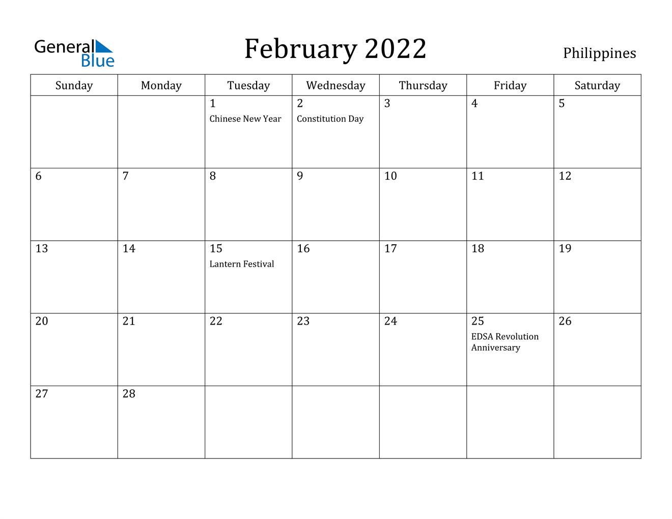 February 2022 Calendar – Philippines Inside Blank Calendar For February 2022