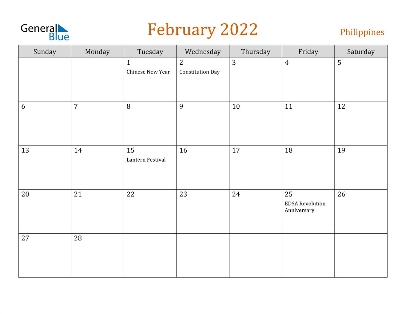 February 2022 Calendar - Philippines regarding Printable Februaryy 2022 Calendar