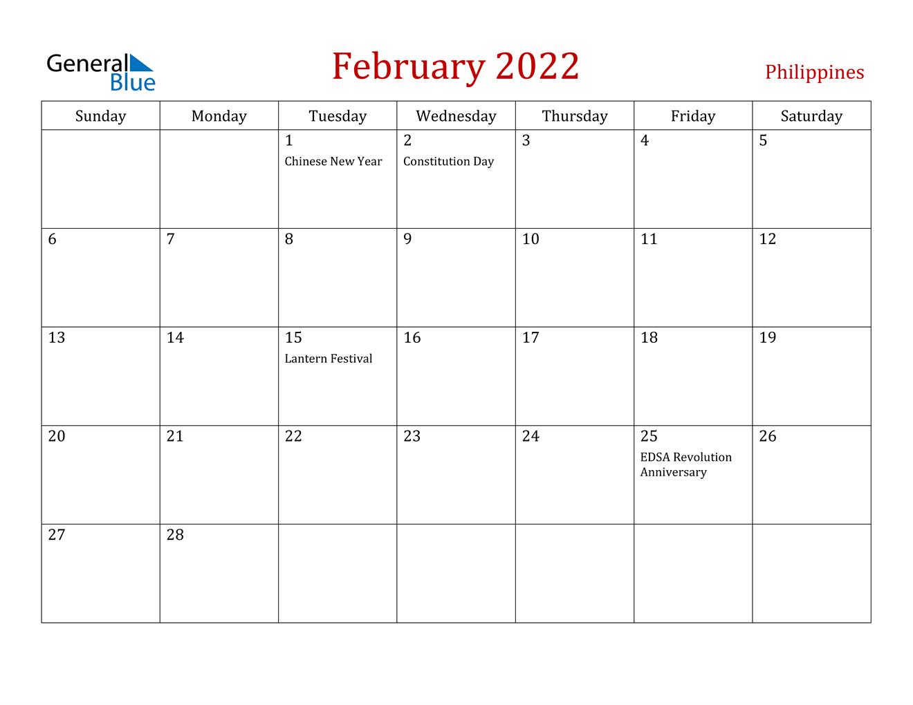 February 2022 Calendar - Philippines Throughout Fillable February 2022 Calendar