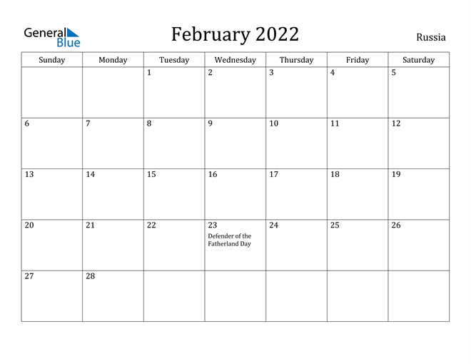 February 2022 Calendar – Russia With Regard To January February March April May Calendar 2022