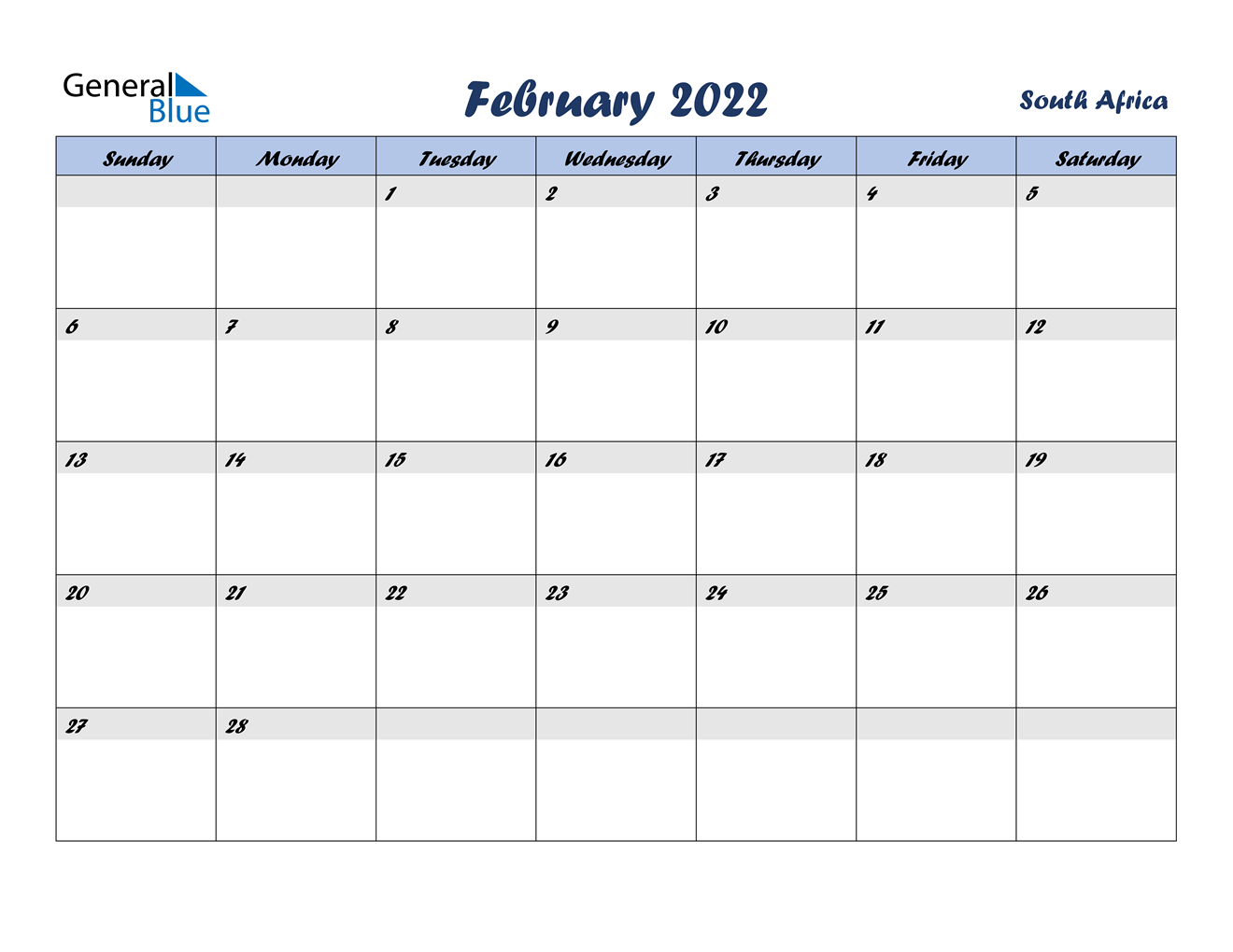 February 2022 Calendar - South Africa Intended For Printable Februaryy 2022 Calendar