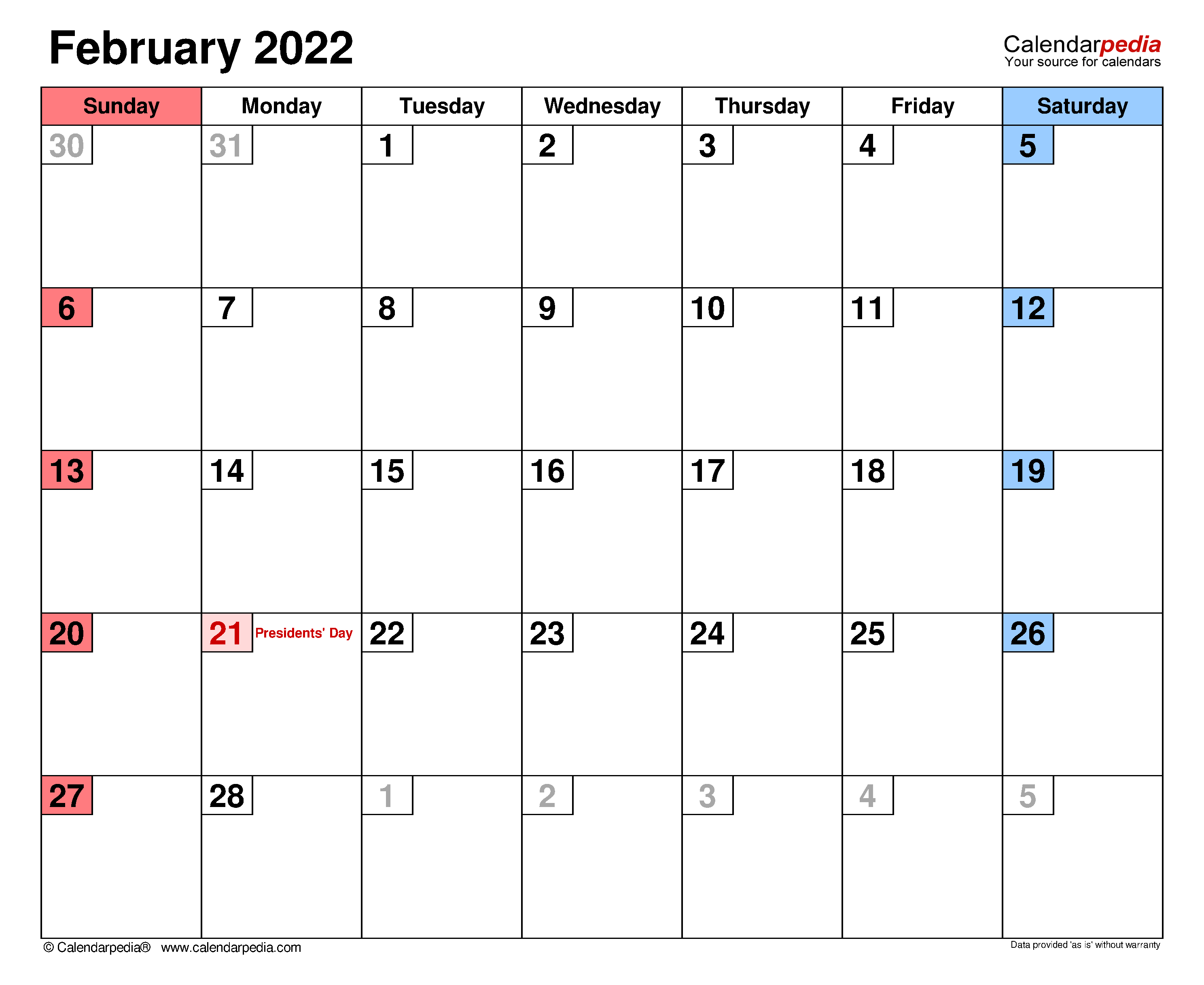February 2022 Calendar | Templates For Word, Excel And Pdf For Blank Calendar For February 2022
