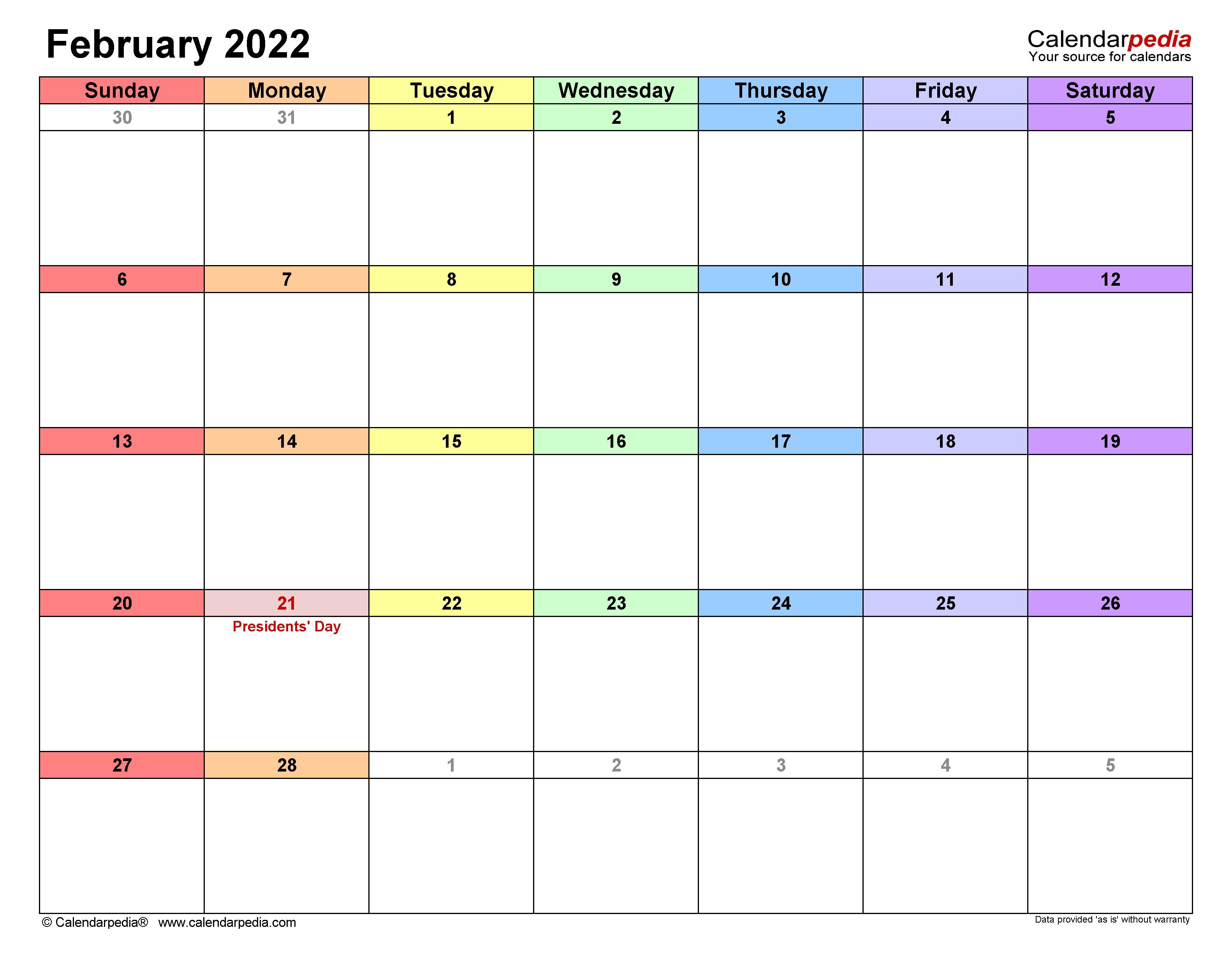 February 2022 Calendar   Templates For Word, Excel And Pdf Inside Free Printable Calendar For February 2022