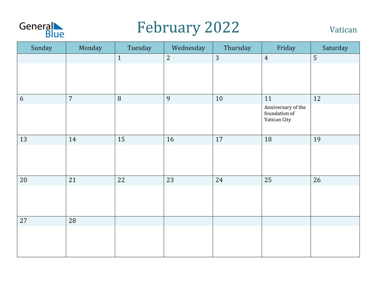 February 2022 Calendar - Vatican Throughout February 2022 Calendar Template