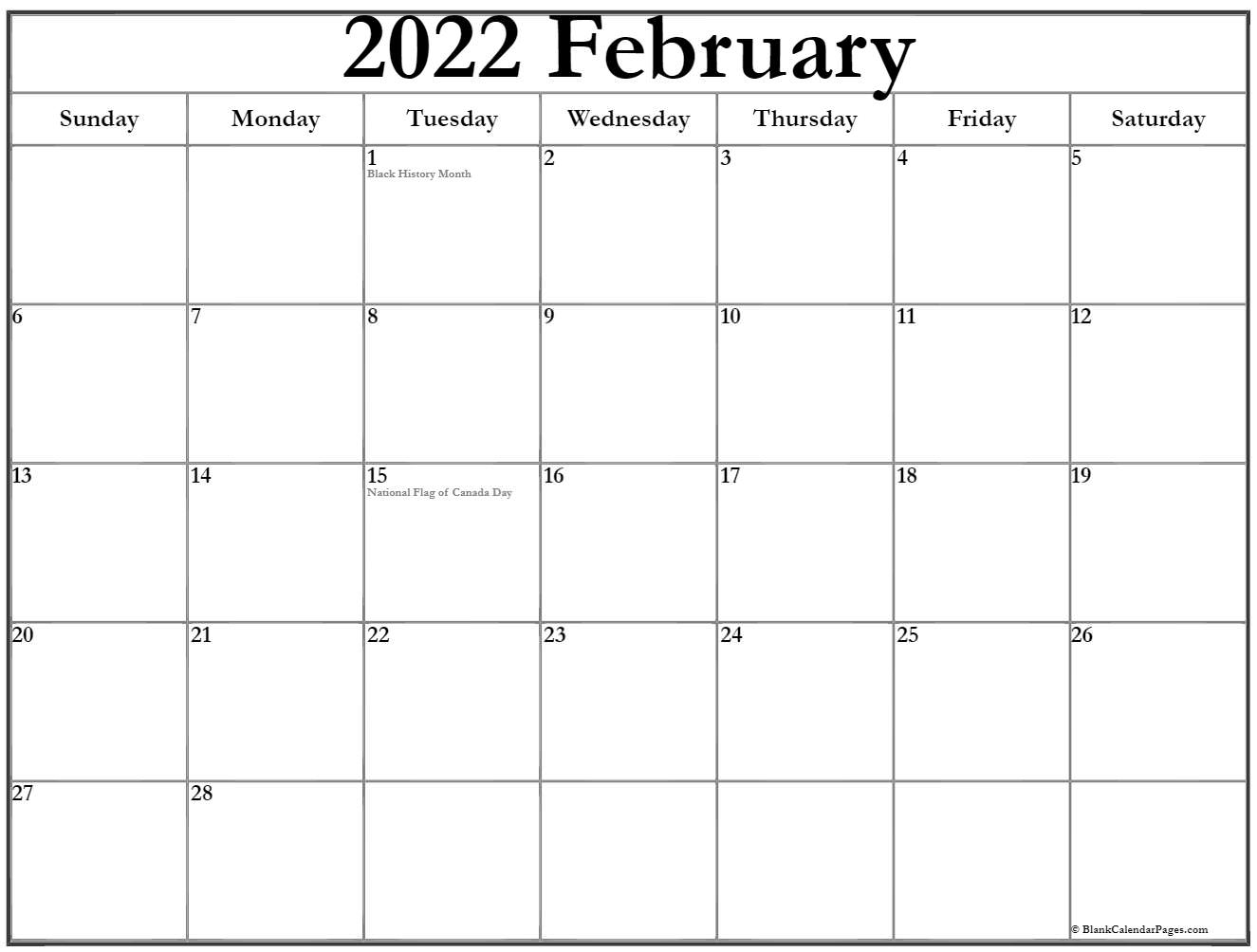 February 2022 Calendar With Holidays In Picture Of Calendar For February 2022