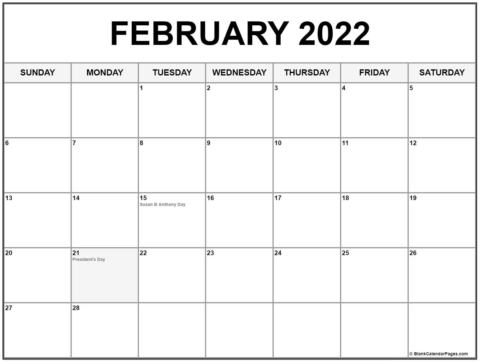 February 2022 Calendar With Holidays Intended For February 2022 Calendar Template