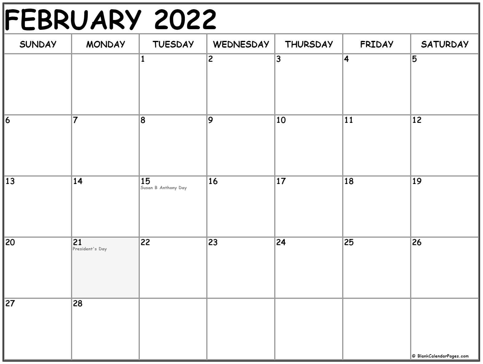 February 2022 Calendar With Holidays Pertaining To Feb 2022 Calendar Printable Free