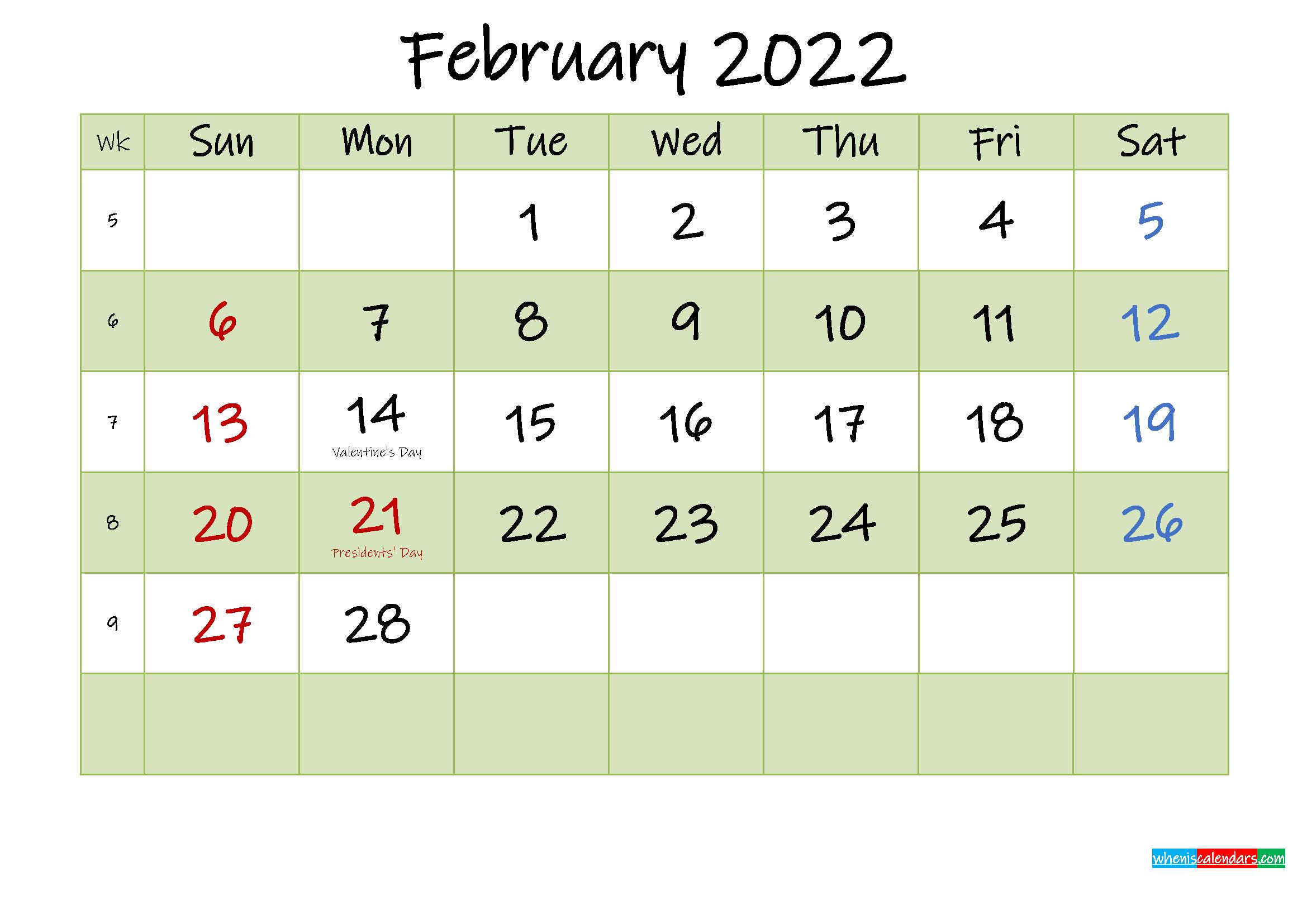 February 2022 Calendar With Holidays Printable - Template Throughout Printable Calendar February 2022