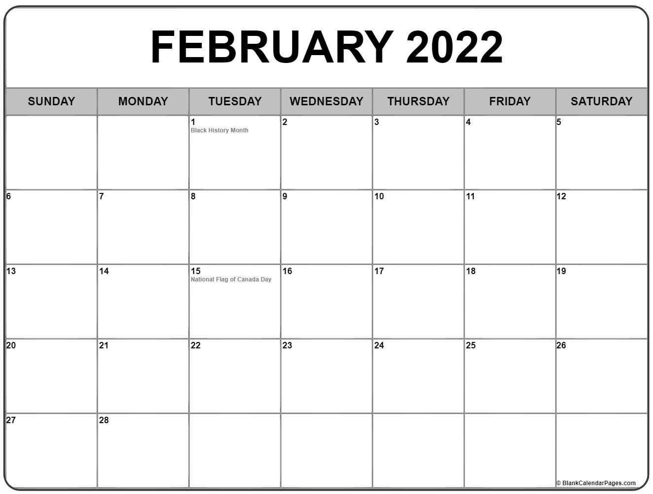February 2022 Calendar With Holidays Within Blank Calendar For February 2022