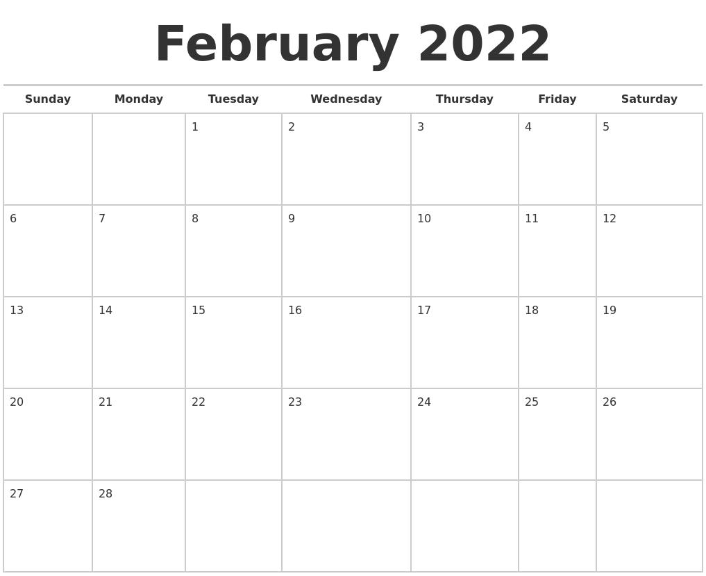 February 2022 Calendars Free Pertaining To February 2022 Calendar Printable