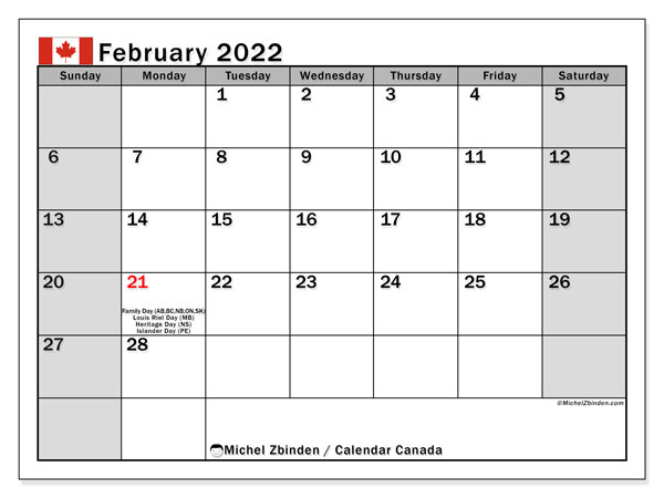 """February 2022 Calendars """"Public Holidays"""" – Michel Zbinden En Pertaining To Picture Of Calendar For February 2022"""