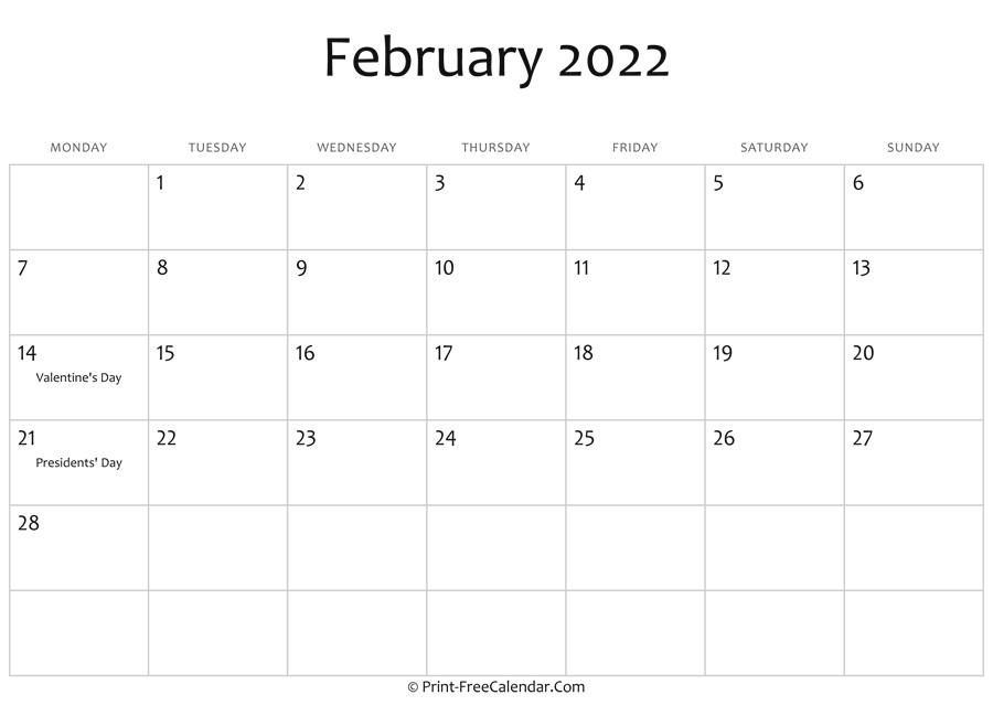 February 2022 Editable Calendar With Holidays Throughout Fillable February 2022 Calendar
