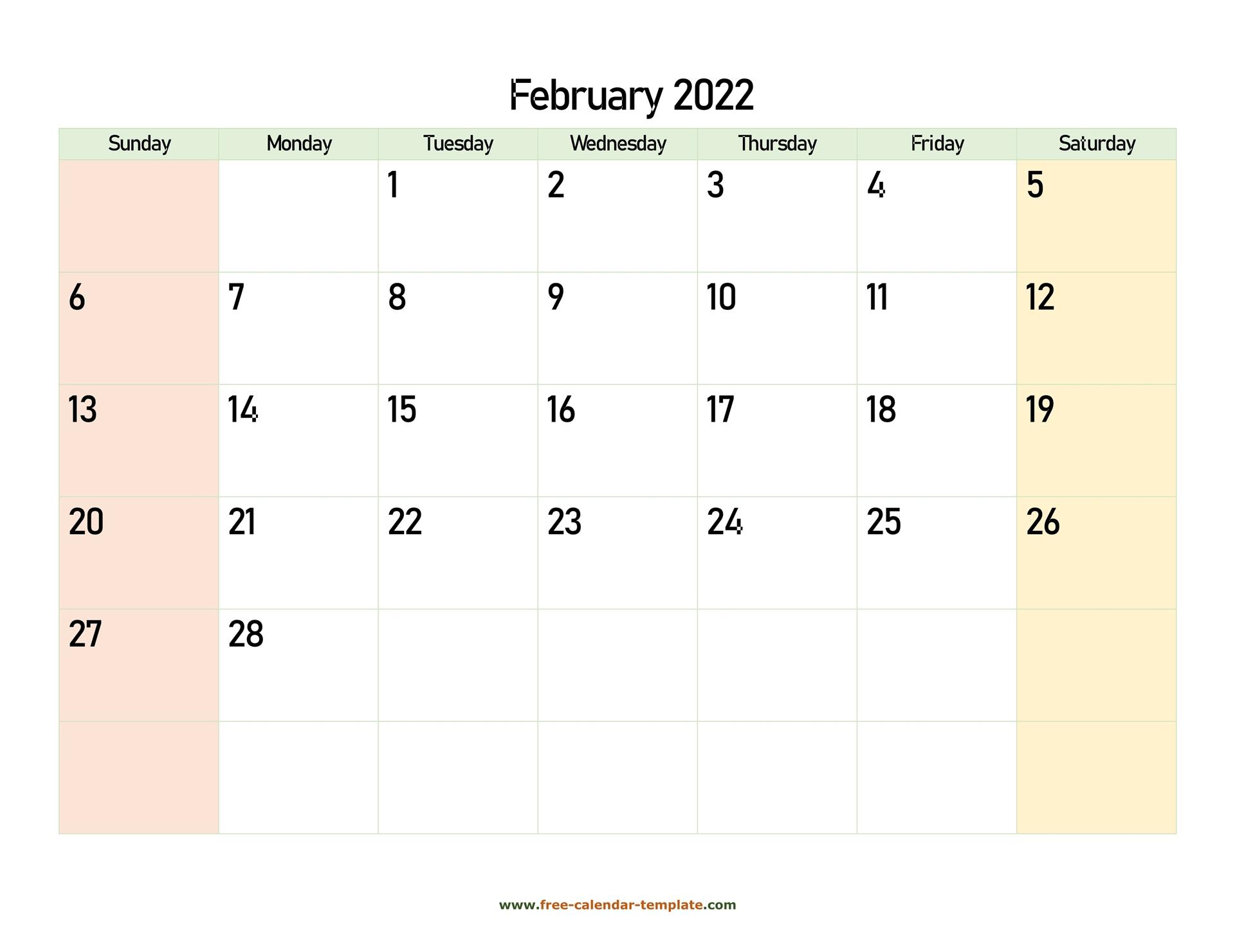 February 2022 Free Calendar Tempplate   Free Calendar Inside 2022 Free Big Primt For Feb 2022