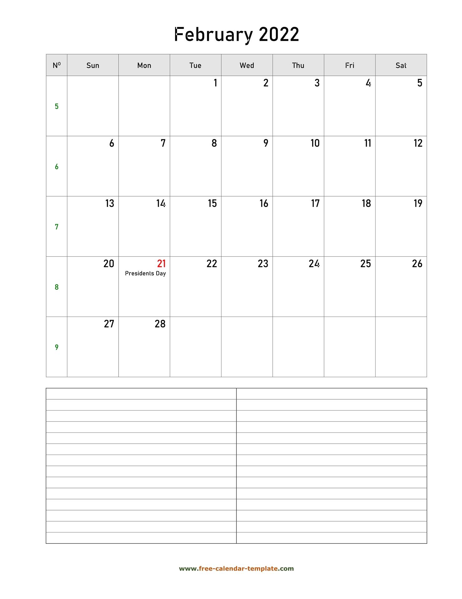 February 2022 Free Calendar Tempplate | Free-Calendar with regard to February 2022 Month Calendar Page