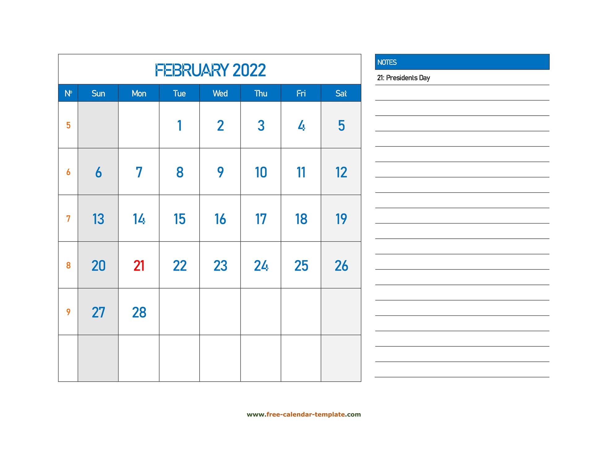 February 2022 Free Calendar Tempplate   Free Calendar Within 2022 Free Big Primt For Feb 2022