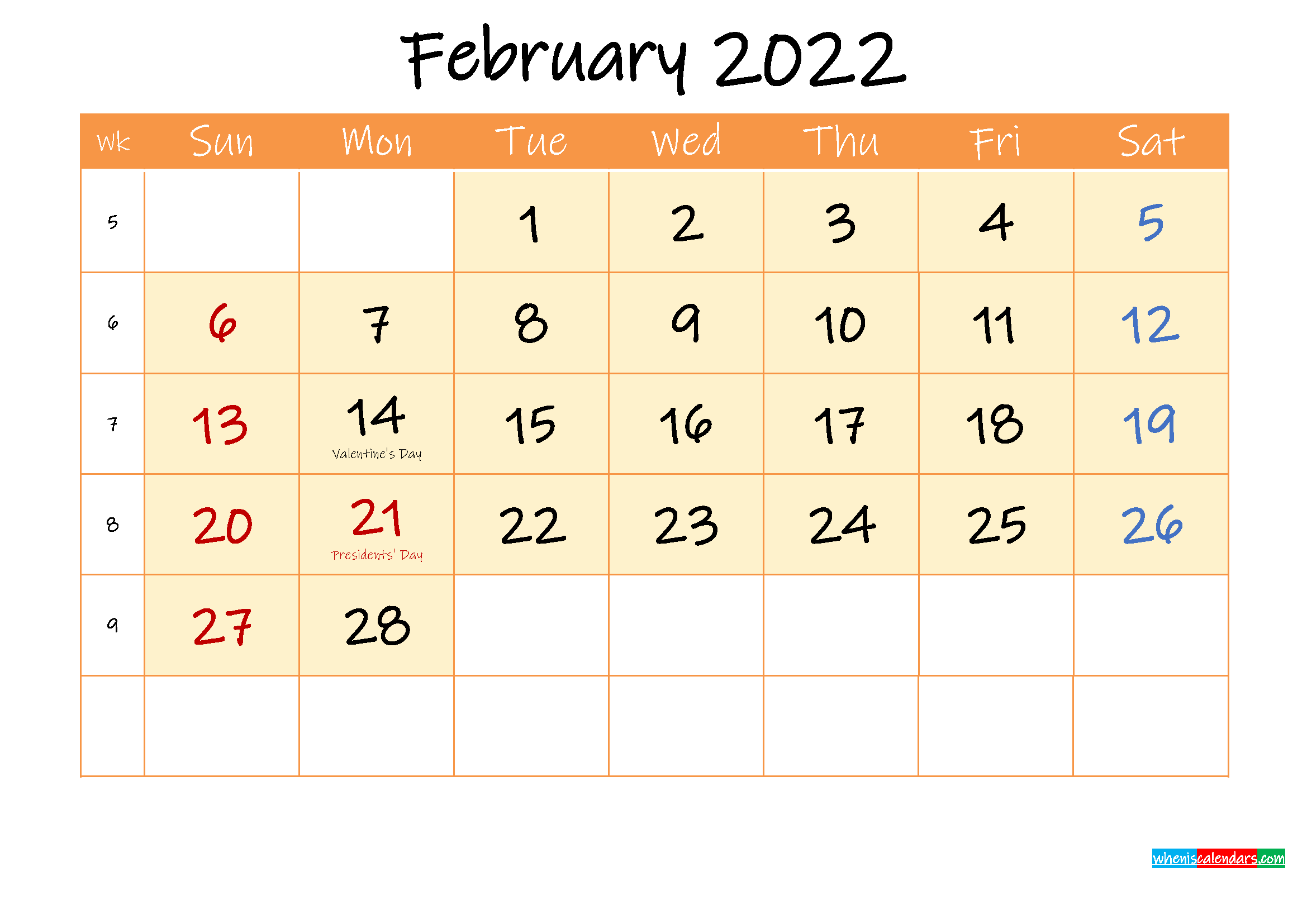 February 2022 Free Printable Calendar – Template Ink22M158 Throughout Feb 2022 Calendar Template