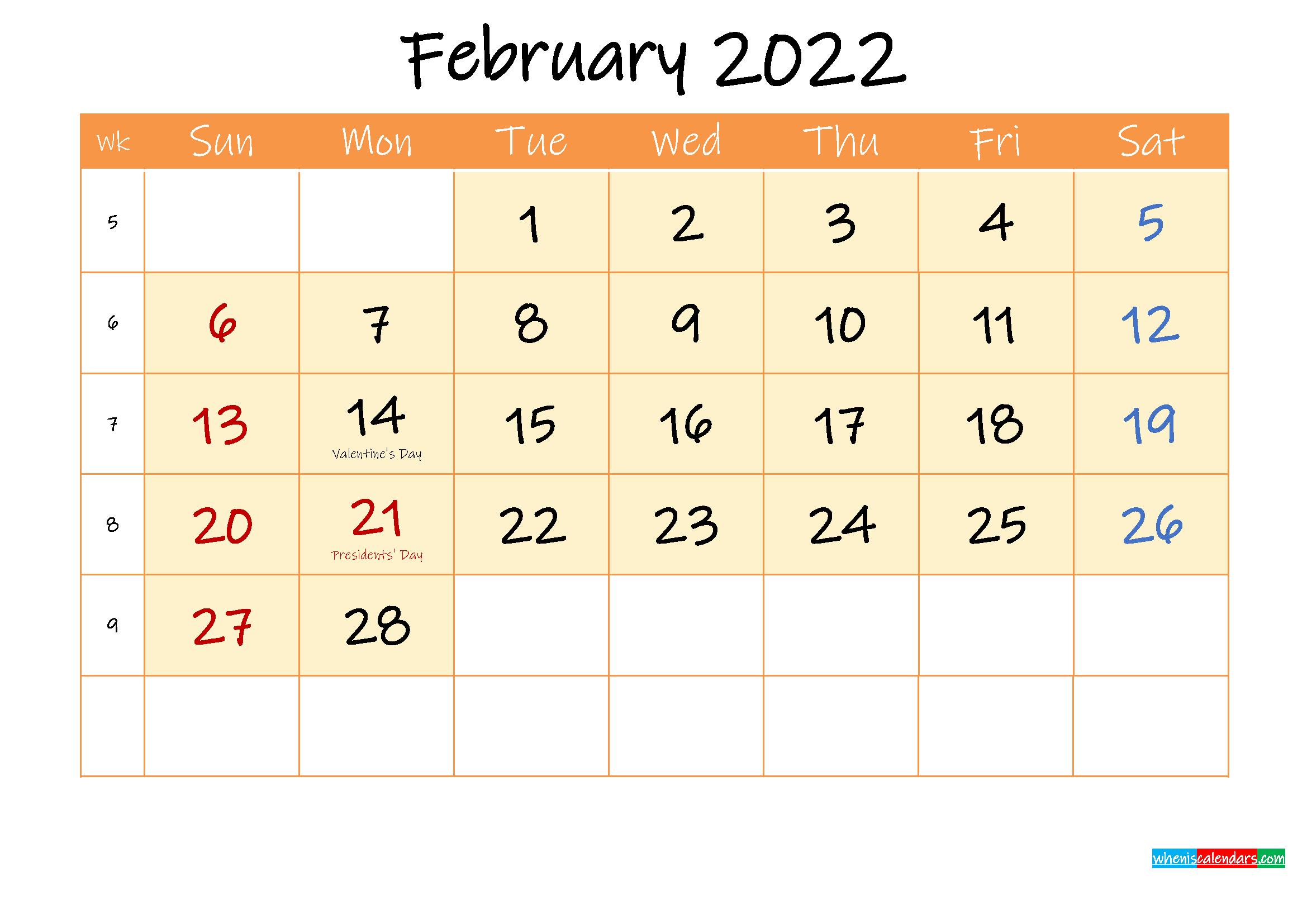 February 2022 Free Printable Calendar - Template Ink22M158 throughout February 2022 Calendar Holidays