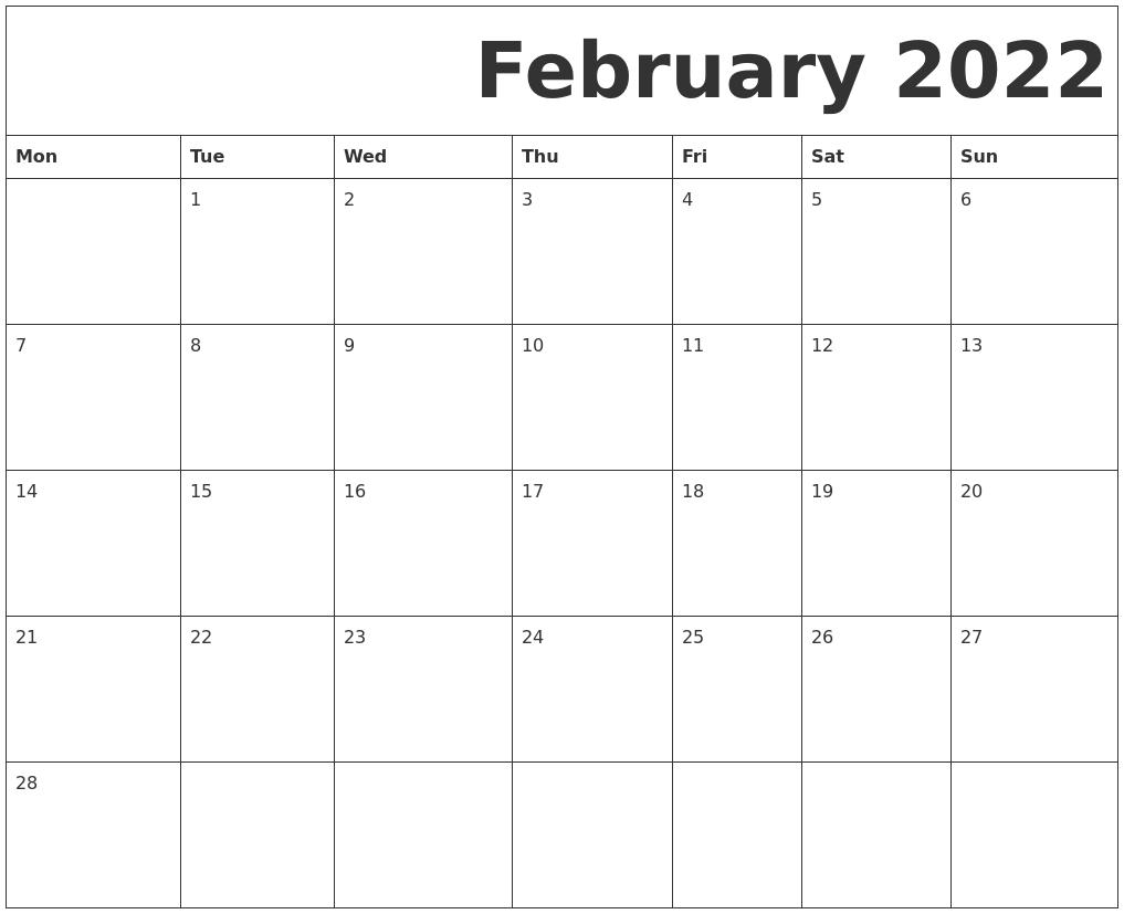 February 2022 Free Printable Calendar Throughout Printable Februaryy 2022 Calendar
