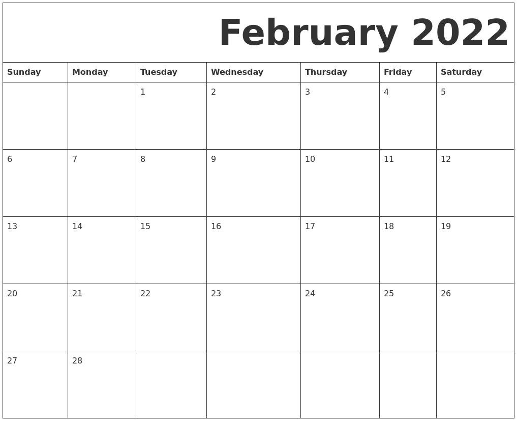 February 2022 Free Printable Calendar With February 2022 Calendar Template