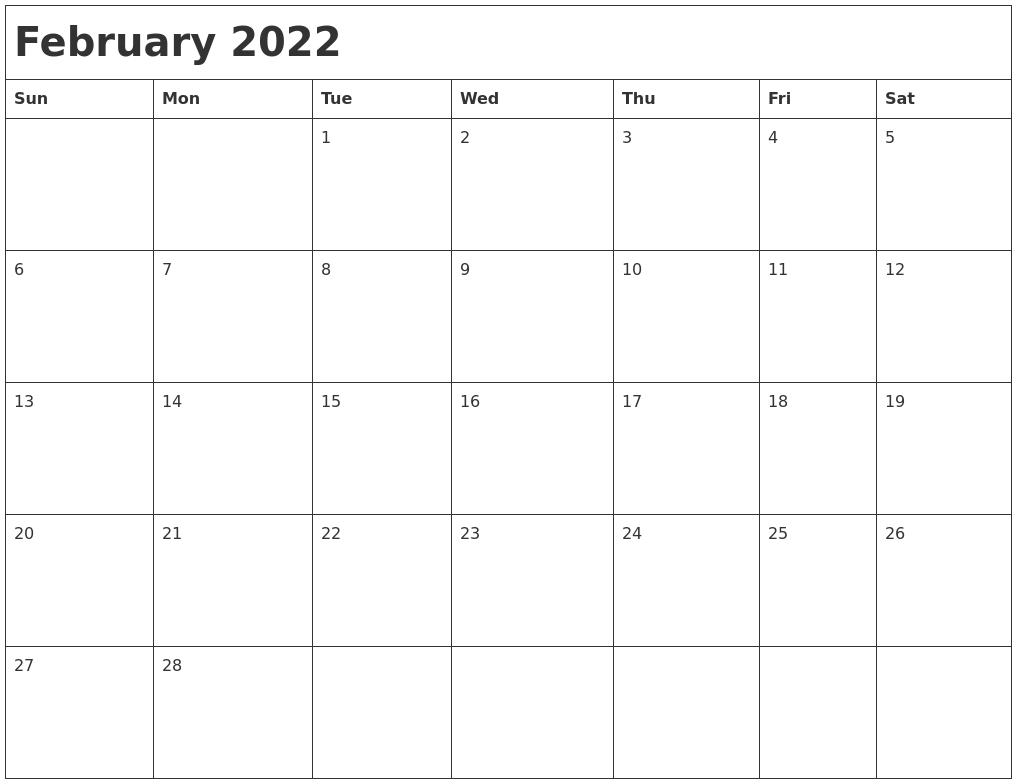 February 2022 Month Calendar Regarding February 2022 Month Calendar Page