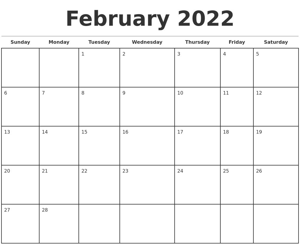 February 2022 Monthly Calendar Template With Feb 2022 Calendar Template