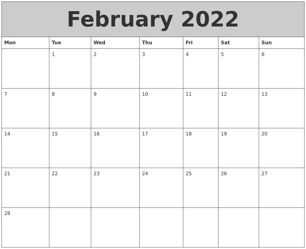 February 2022 My Calendar Regarding February 2022 Calendar Monday Start