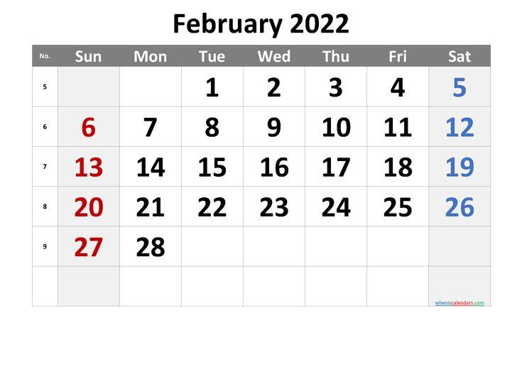 February 2022 Printable Calendar With Week Numbers [Free With Free Printable Feb 2022 Calendar Templates