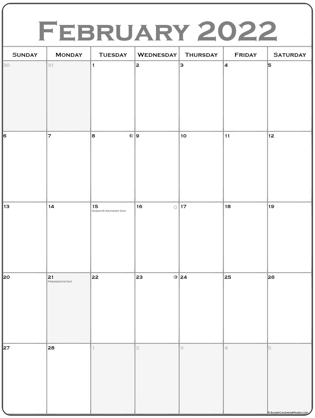 February 2022 Vertical Calendar | Portrait Throughout Blank Calendar For February 2022