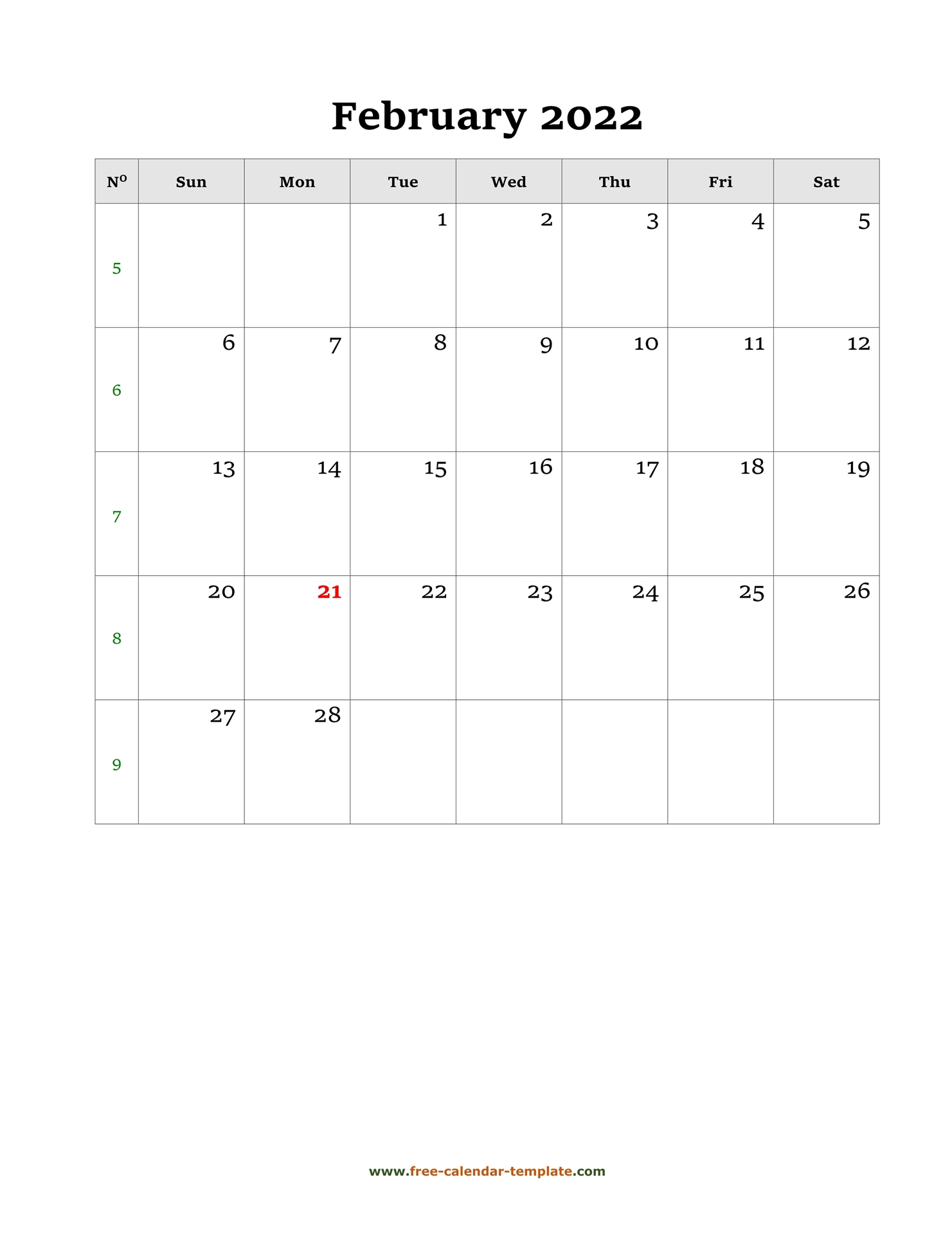 February Calendar 2022 Simple Design With Large Box On regarding February 2022 Calendar Template