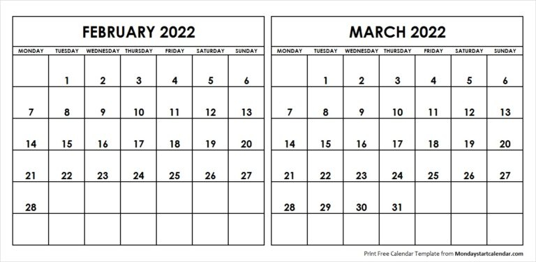 February March 2022 Calendar Monday Start   Two Months Regarding February 2022 Calendar Monday Start