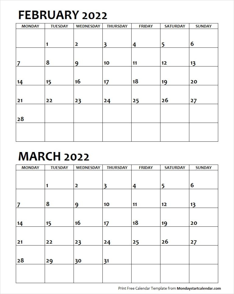 February March 2022 Calendar Monday Start | Two Months With Regard To February March 2022 Calendar