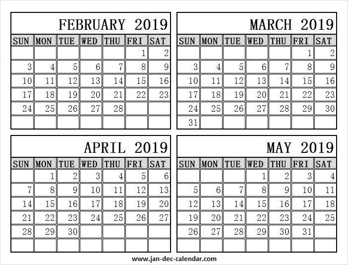 February March April May 2019 Calendar | 2019 Calendar Within December January February Calendar