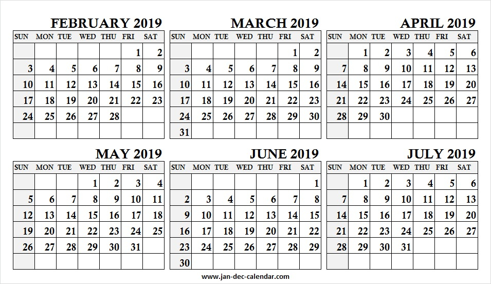 February March April May June July 2019 Calendar | Six With January February March April May Calendar