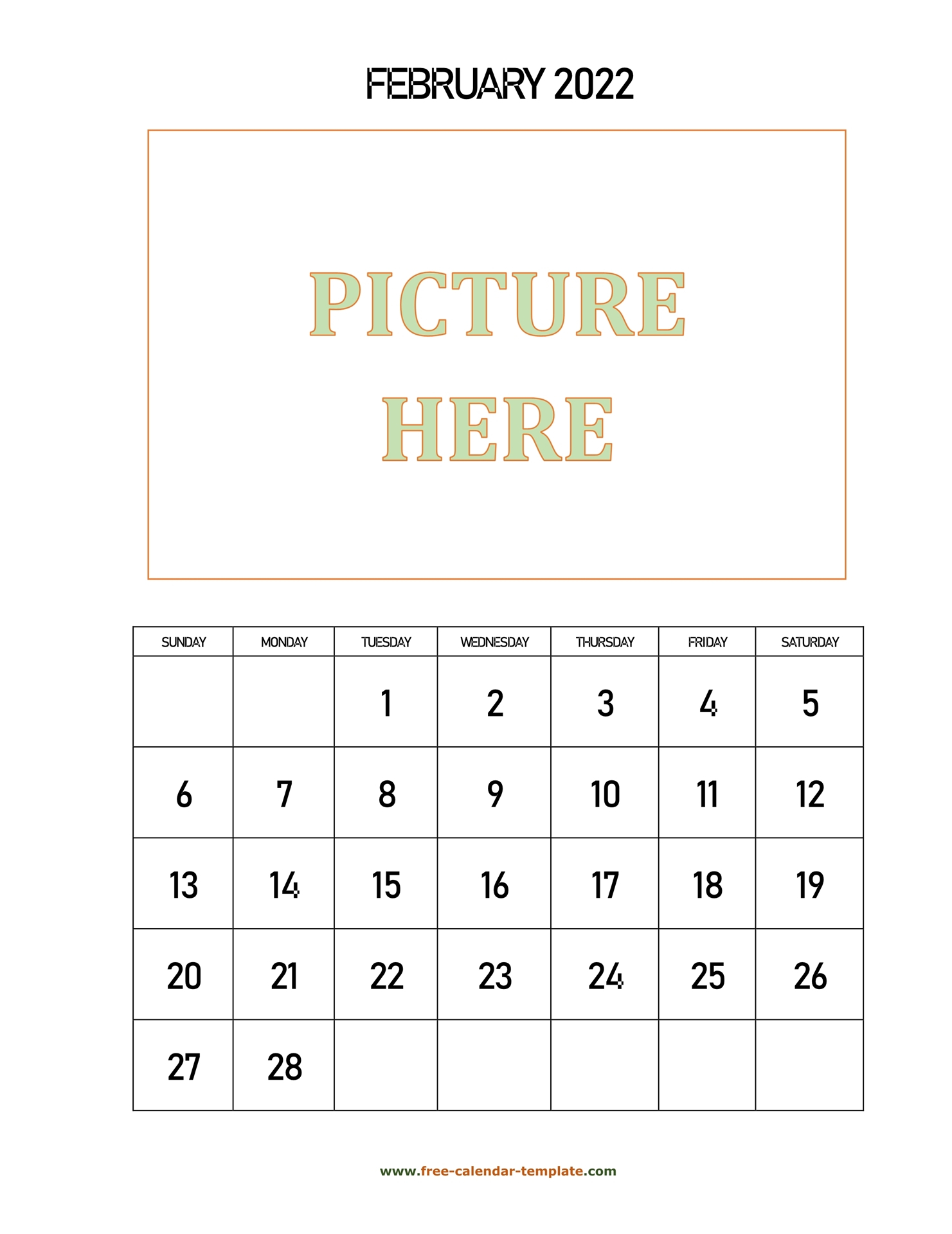 February Printable 2022 Calendar, Space For Add Picture with Feb 2022 Calendar Printable Free