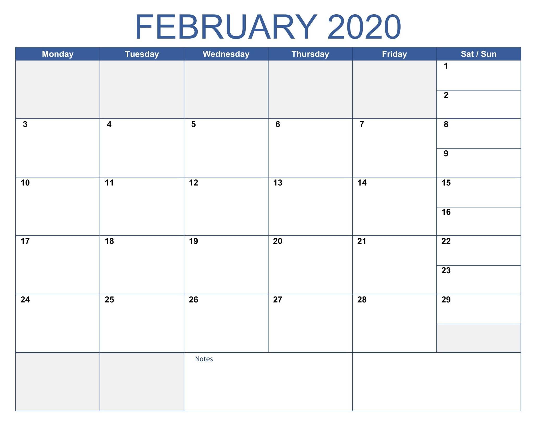 Fillable Blank February Calendar 2020 Printable Editable Within Fillable February 2022 Calendar