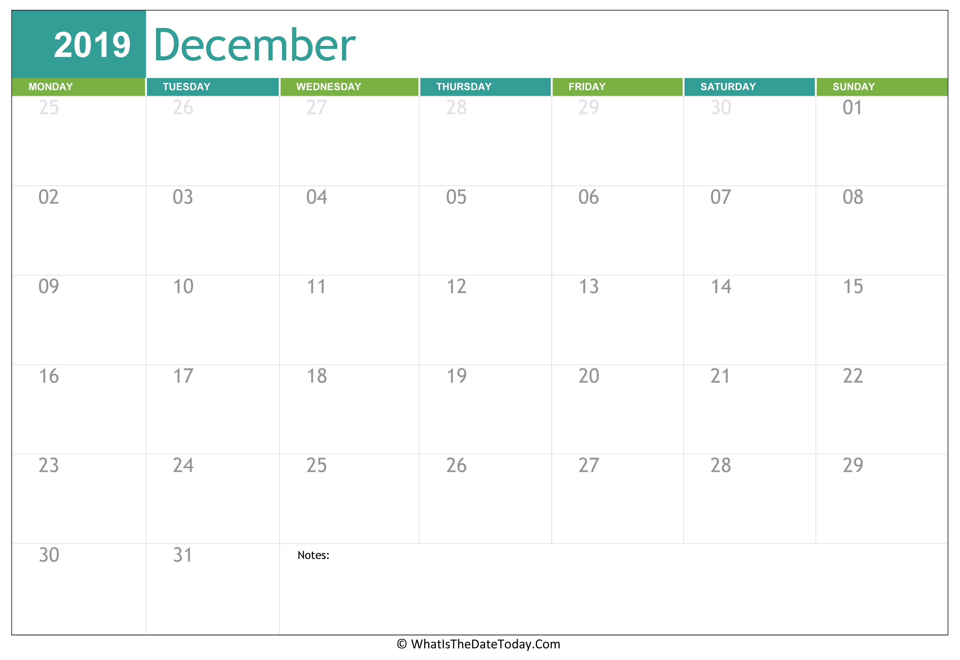 Fillable December Calendar 2019 | Whatisthedatetoday Intended For Print Calendar January 2022 Fillable Lines
