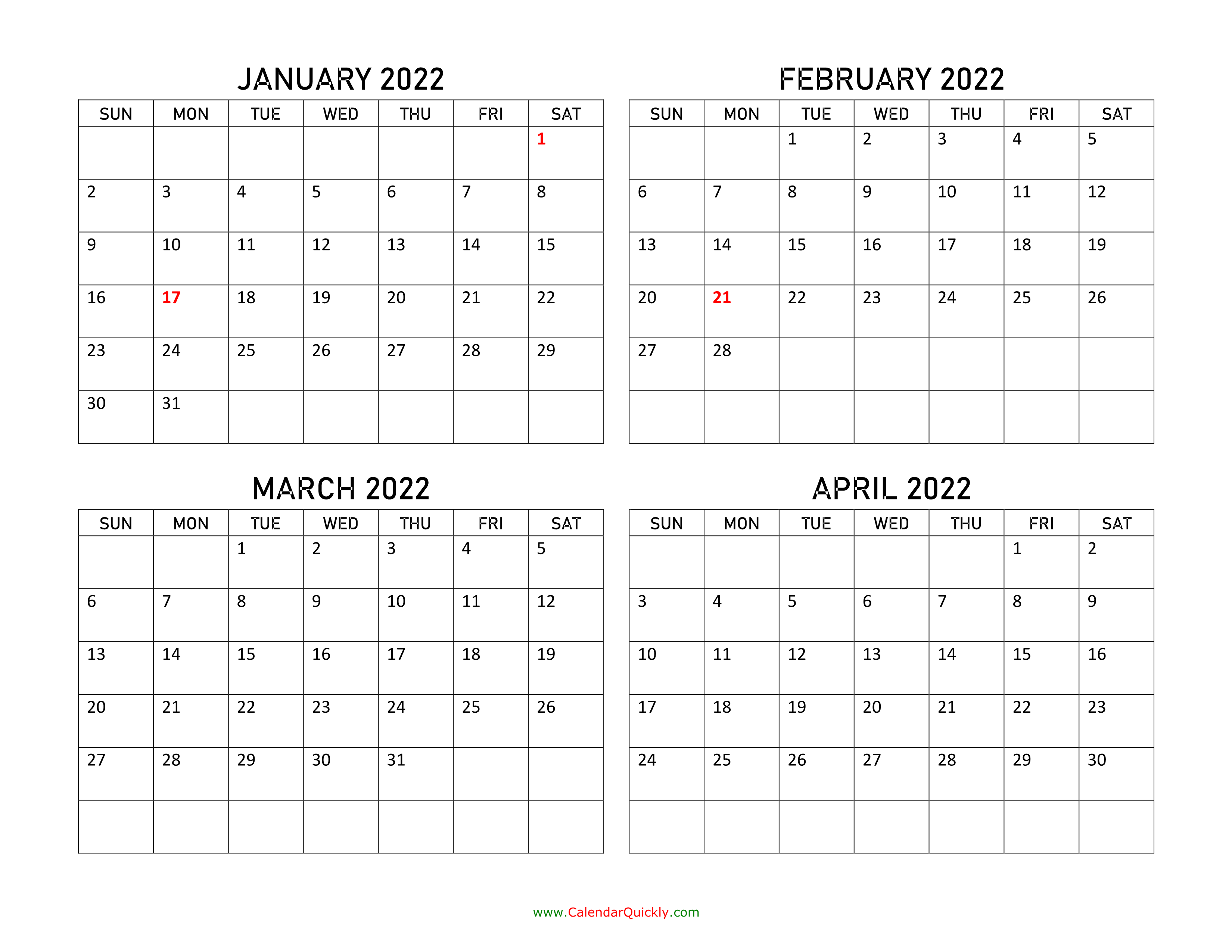 Four Months 2022 Calendar | Calendar Quickly Pertaining To Caladar For The Mont Of March 2022