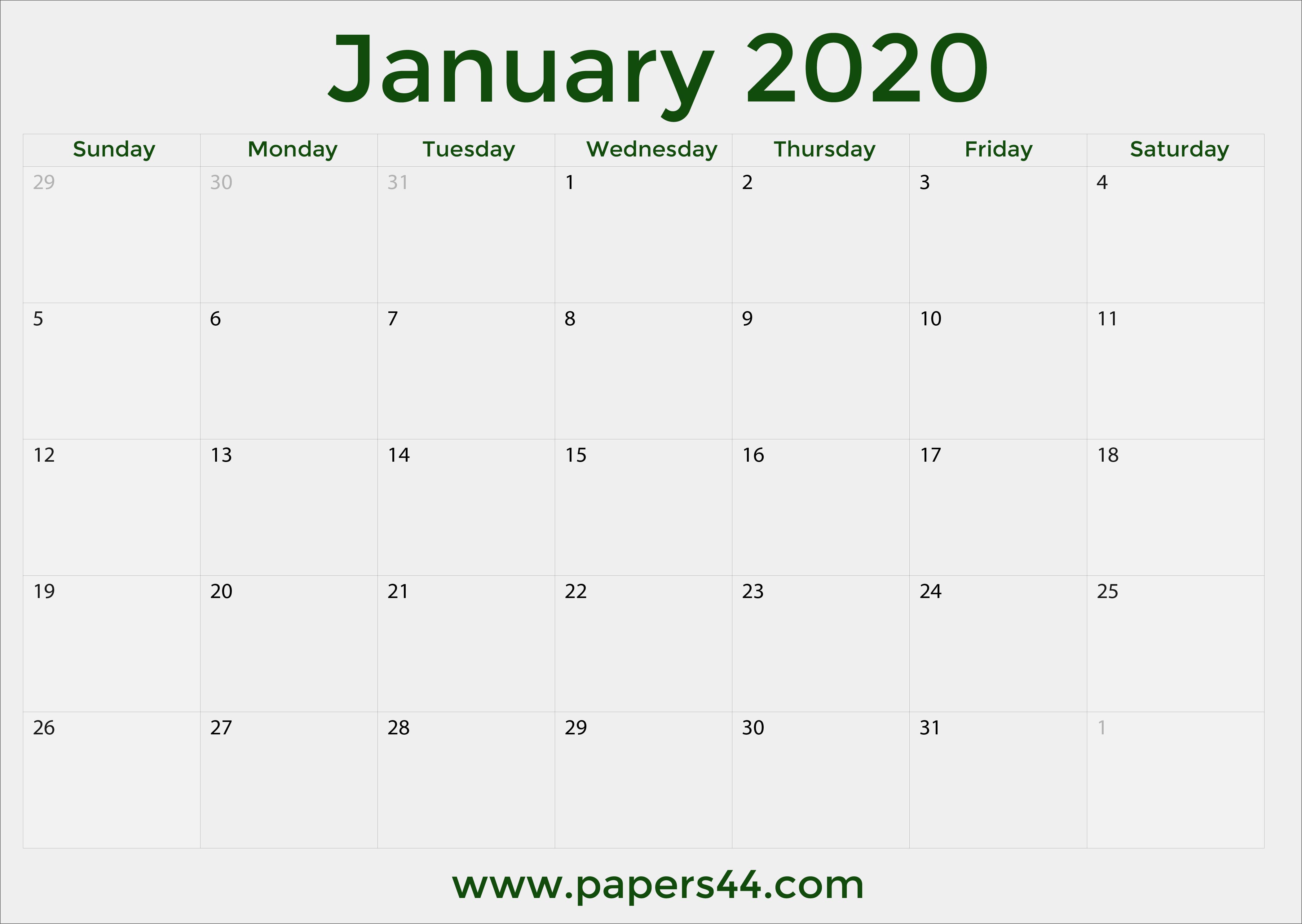 Free 2020 January Calendars - Pdf For Full Page January Calendar