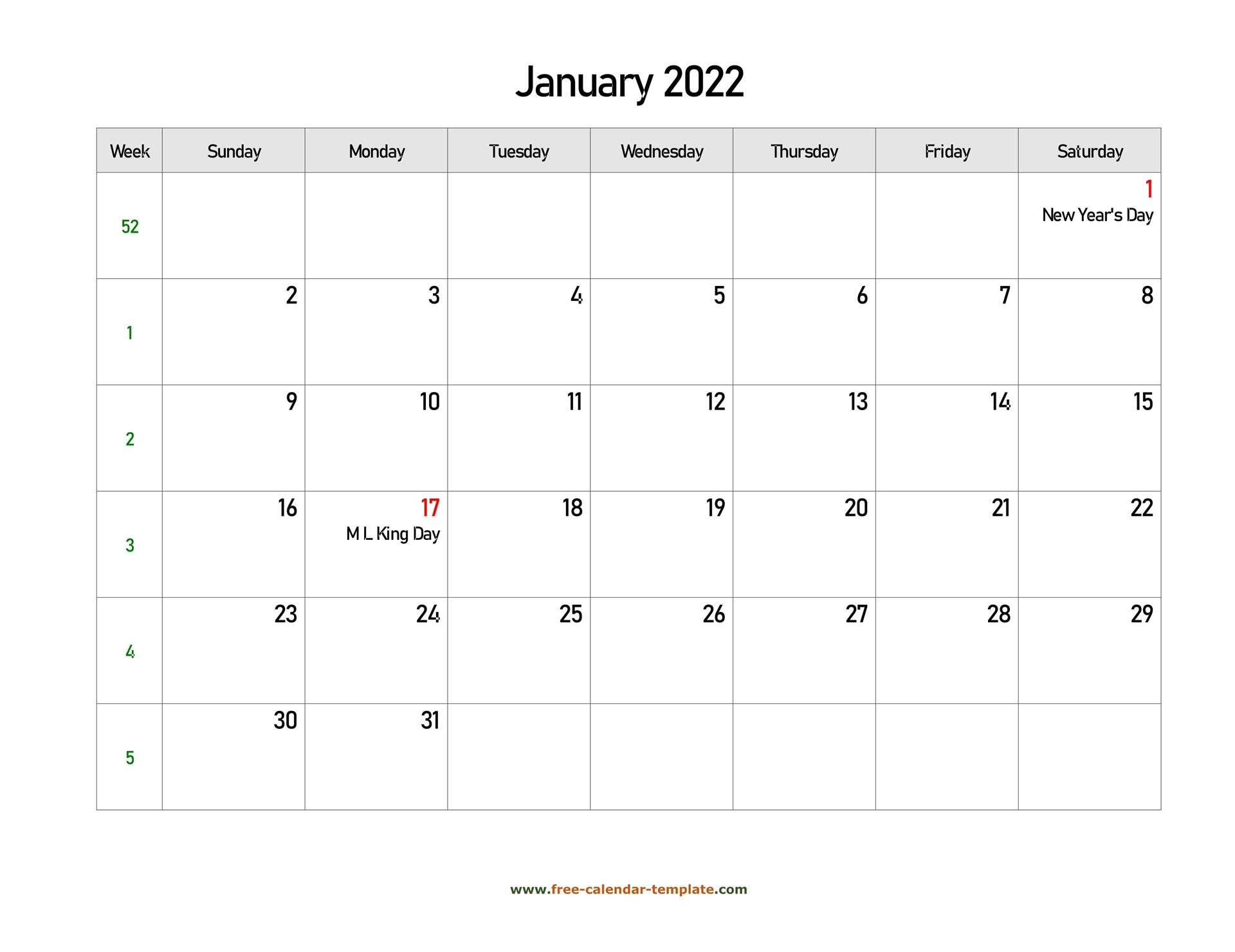 Free 2022 Calendar Blank January Template (Horizontal Throughout Blank January 2022 Calendar