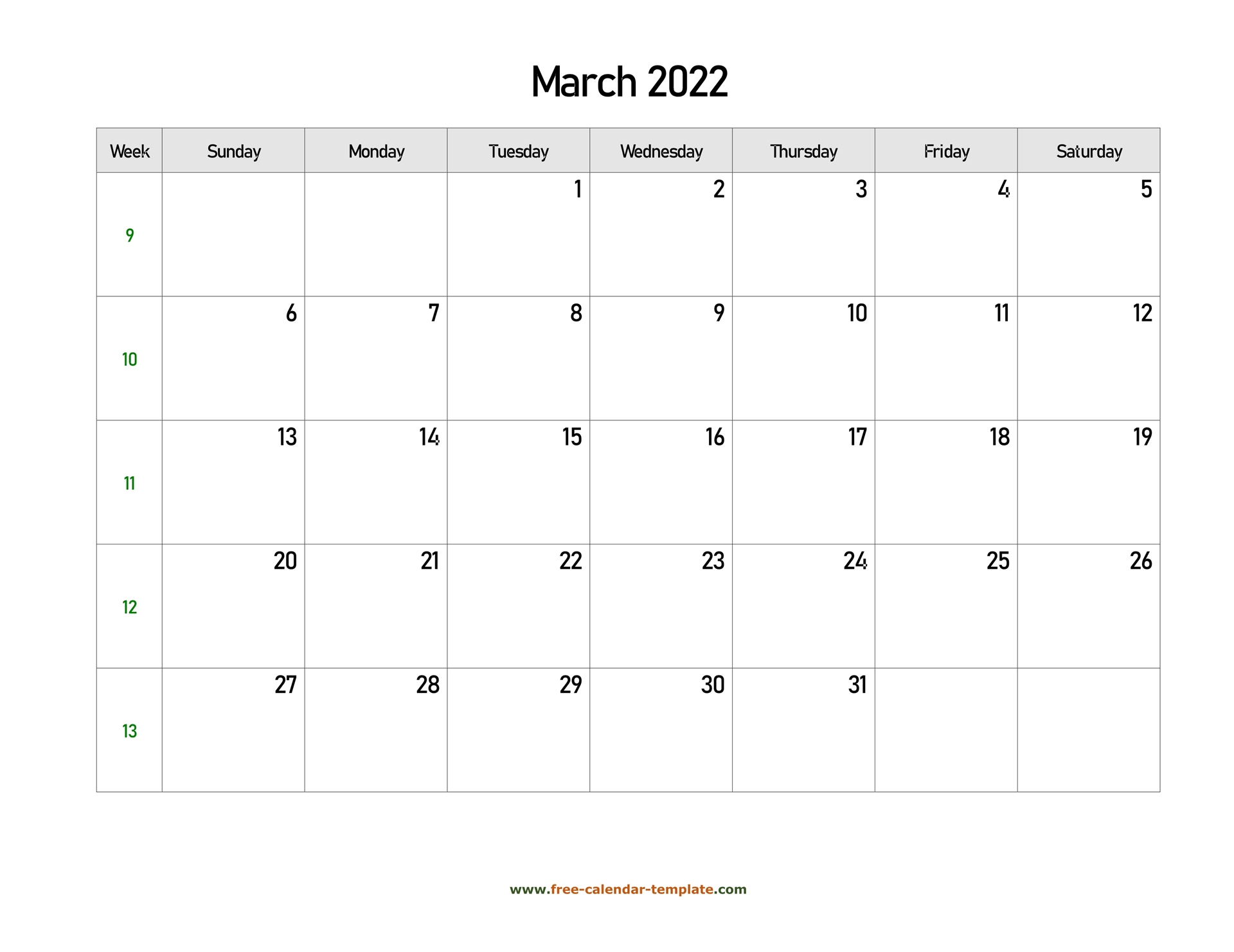 Free 2022 Calendar Blank March Template (Horizontal Intended For 2022 Calendar March And April