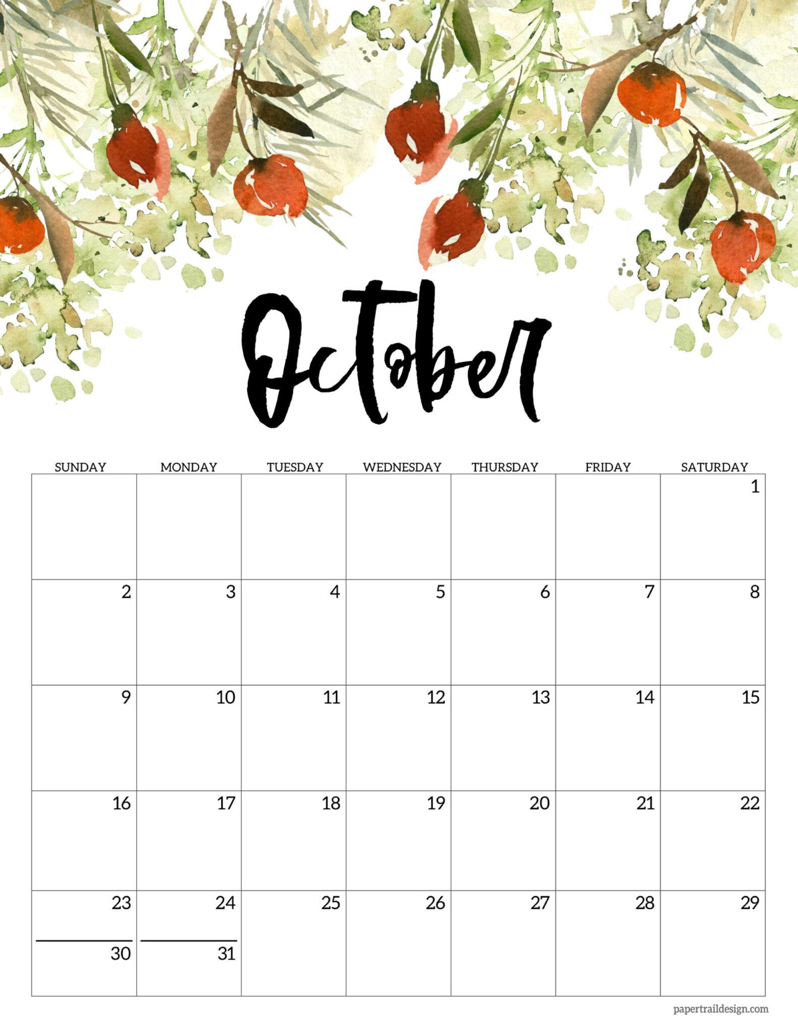 Free 2022 Calendar Printable - Floral | Paper Trail Design For Calendar 2022 February Floral